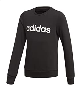 Adidas Linear Slim-Fit Front Logo Print Ribbed Trims Sweatshirt for Girls - Black and White, 13-14 Years