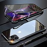 Coque pour iPhone 11 Adsorption Magnétique Housse,Conception de Style Batman Double côtés Transparent Verre Trempé Etui Métal Cadre 360 degrés Antichoc Cover Case - Noir