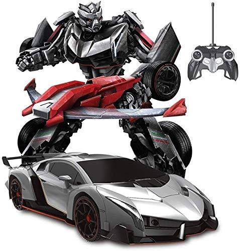 Zeyujie 1/12 Modelo Coche Control remoto para niños Rotating Racing Toy Holiday Fiestas de cumpleaños Transformadores de regalo de cumpleaños 360 ° Rotación de la deformación de plata eléctrica Poisón