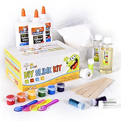 Homemade Slime Kit | How to Make Slime, Putty, and Goo | Includes Slime Containers, Ingredients, and Supplies for 4 Different Kinds of Slime: Glow in the Dark, Neon Colored, Foam, Glitter by Mr. E=mc2 from Learning Toys 4 You