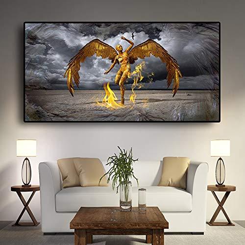 Ange Gardien Toile Peinture Portrait scandinave Affiche et Gravure Art Photo sur Mur sans Cadre peinture20x40 cm
