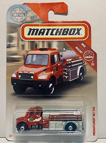 Matchbox 2018 Freightliner M2 106 Red #48/100 MBX Rescue 7/20 Toy Fire Engine Truck Die Cast 1:64 Scale