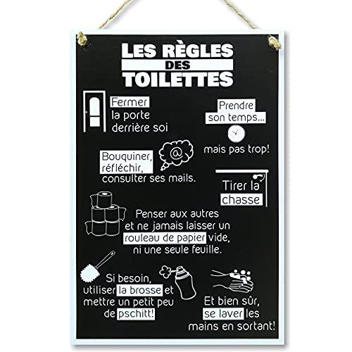 CARISPIBET Les règles des Toilettes | enseignes décoratives décoration pour Le Salle de Bain enseignes de Maison 30 x 20 cm