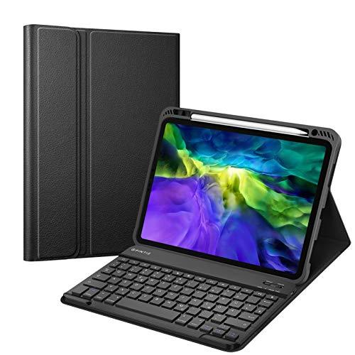 Fintie Tastatur Hülle für iPad Pro 11 Zoll 2020 & 2018, Soft TPU Rückseite Gehäuse Schutzhülle mit Pencil Halter, magnetisch Abnehmbarer Bluetooth Tastatur mit QWERTZ Layout, Schwarz