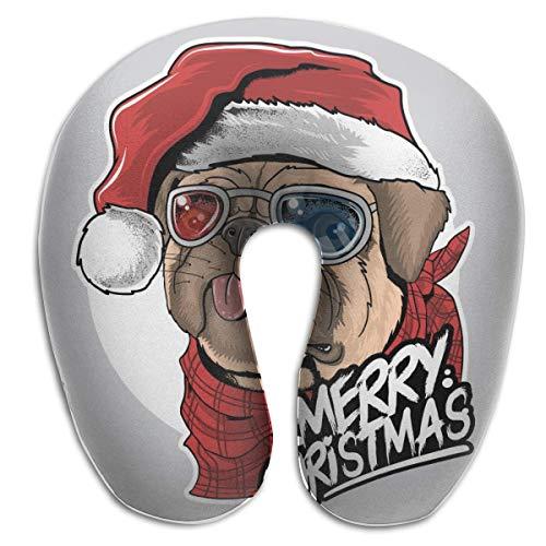 Hdadwy Perro Cachorro Pug Santa Claus Sombrero de Navidad Almohada de Viaje en Forma de U Suave y cómoda Almohada de Espuma viscoelástica para el Cuello para niños Adultos
