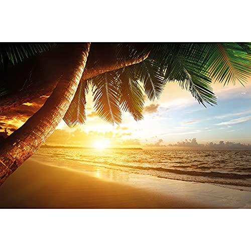 GREAT ART® Mural De Pared – Puesta De Sol En El Mar – Tapiz De Foto Mural Decoración Caribe Palm Beach Playa Sol Vacaciones Viajes Naturaleza Isla Decoración (210x140 Cm)