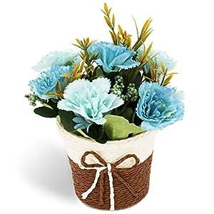 CASMON Potted Artificial Carnation Flowers in Rattan Vase, Fake Silk Bonsai Plants for Indoor Bedroom Home Décor, Wedding Arrangements, Office Desk, Windowsill Decoration