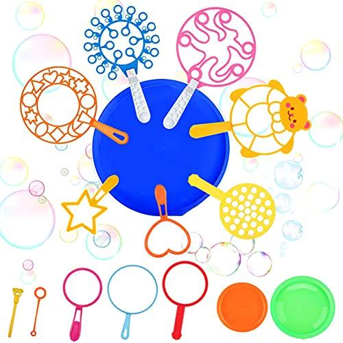 Bolle di Sapone Kit,15PCS Bacchetta A Bolle,Bubble Maker Set,Bacchette per Bolle in plastica,Bolle di Sapone per Bambini,Bubble Stick per attività All'aperto Estiva, Festa di Compleanno