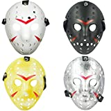 TIHOOD 4PCS Costume Jason Mask Cosplay Halloween Masquerade Party Horror Mask Christmas for Men and Adults (Black,White,Yellow,Grey)