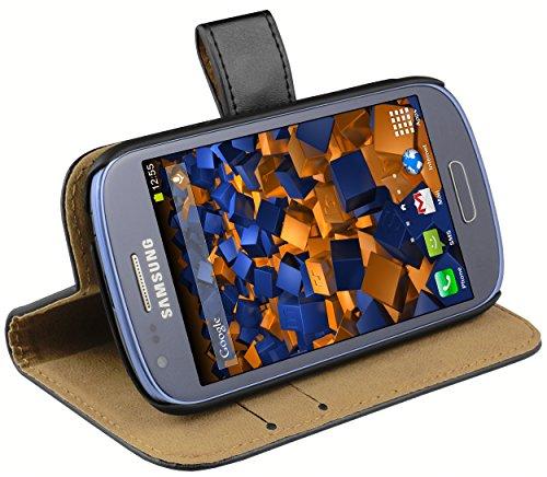 mumbi Echt Leder Bookstyle Case kompatibel mit Samsung Galaxy S3 mini Hülle Leder Tasche Case Wallet, schwarz