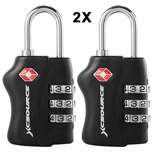 2 X TSA - Security Padlock Candados De Seguridad - Combinación De 3 Dígitos para Maleta De Viaje/Bolsa De Viaje/Cerraduras De Equipaje/Archivadores/Caja de Herramientas/Lockers XC303