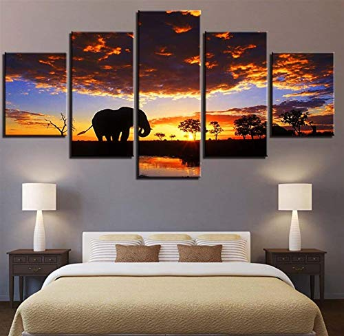 QWEIAS Artwork HD Drucke Leinwand Malerei Wohnkultur 5 Stück Tiere Elefant Wandkunst Modulare Bilder für Wohnzimmer Schlafzimmer Poster (Farbe : 1, Size (Inch) : Size3 No Frame)