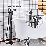 GHKUFH Grifo de bañera Bronce Negro Baño Ducha Grifo Mezclador para bañera Grifo para baño Grifo para bañera montado en el Suelo Manija única con Ducha de Mano, Bronce Negro D