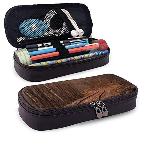 Train Tracks Ledermäppchen mit Stifthalter, Briefpapier mit großer Kapazität, Kosmetiktasche, Bluetooth-Headset, Schulbedarf