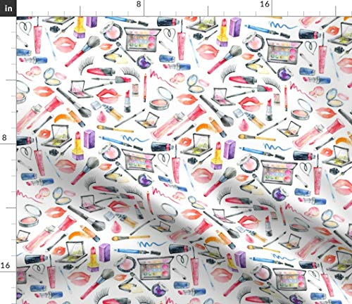 Spoonflower Fabric - Makeup Lipstick Girly Kisses Lips Watercolor Valentines Day Printed on Petal Signature Cotton Fabric by The Yard - Sewing Quilting Apparel Crafts Decor