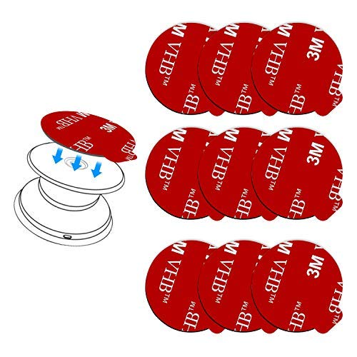 9 Pack Pops Sticky Adhesive Replacement for Socket Mount Base, pop-tech VHB 3M Sticker Pads for Phone Collapsible Grip & Stand Back - 9pcs 35mm Double Sided Tapes & 4pcs Alcohol Prep Pads