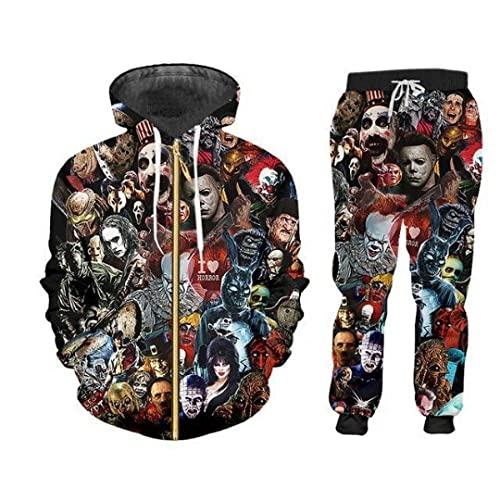 Felpa con cappuccioAutunno e inverno New 3D Digital Printing Suit Trend Fashion Sports Uomo e donna Casual -Xc5057_4XL