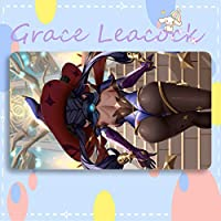 GraceLeacock カードゲームプレイマット 遊戯王 プレイマット 原神 Genshin Impact げんしん モナ アニメグッズ TCG万能 収納ケース付き アニメ 萌え カード枠なし (60cm * 35cm * 0.3cm)