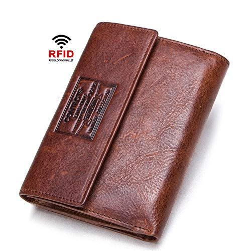Gimitunus Billetera de Piel auténtica para Hombre, con Tarjetero, para Viaje, chequera, Documentos, Pasaporte, día del Padre