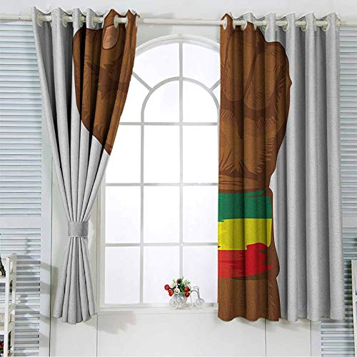 Rasta Window Curtain Blackout Curtain Ethiopian Rebellion Symbol Wrist with Flag Colors Art Print Indo Treatments for Short Indo 42x63 Inch