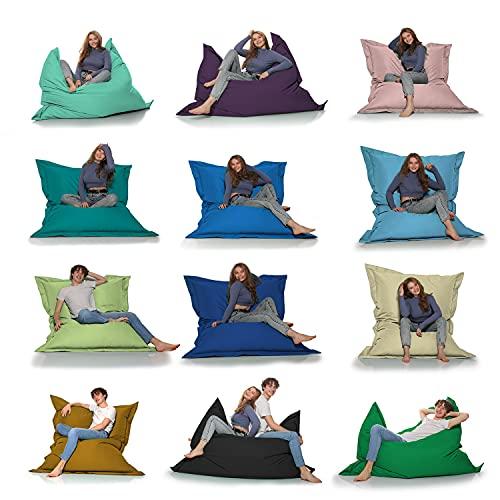 HomeIdeal - Sitzsack 2-in-1 Funktionen Riesensitzsack für Erwachsene & Kinder - Gaming & Entspannen - Indoor & Outdoor da er Wasserfest ist - mit EPS Perlen, Farbe:Lila, Größe:140x160 cm