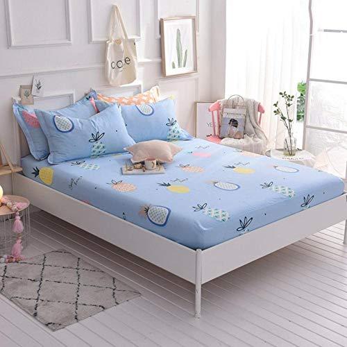 PENVEAT 100% Baumwolle Spannbetttuch Matratzenbezug Bettbezug mit Gummiband Maschinenwaschbar Bettschutzpolster Matratzenschoner, Ananas, 1 Kissenbezug