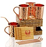 SOLID COPPER MUGS WITH COPPER STRAWS AND PINE WOOD...