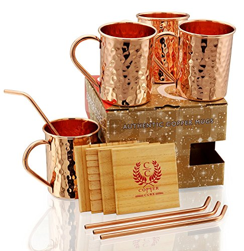 GIFT SET - COPPER MUGS WITH COPPER STRAWS AND PINE WOOD COASTERS - PREMIUM QUALITY 16 Oz - Handcrafted 100% Solid Pure Copper Hammered Mugs Set of 4 - A Perfect gift for your loved Ones.