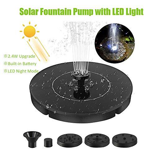 Tidyard 2,4-W-LED-Solarbrunnenpumpe mit schwimmendem LED-Lichtbrunnen Eingebaute Batterie Vogelbad-Wasserpumpe für Garten-Terrassenteich und Pool-Aquarium-Teichdekoration