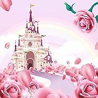 3D漫画ピンクの城のバラの壁紙子供の女の子の寝室の背景壁モダンな家の装飾壁画-350x250cm