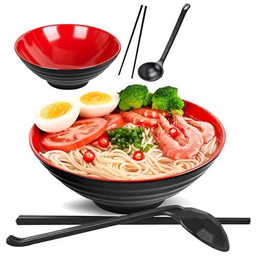 2 Sets (6 Stück) Ramen Schüssel Set, Füllmenge 1032 ml Japanische Suppe Schüssel mit Löffel und Essstäbchen, Für Pasta Udon Soba Pho Asiatische Nudeln, Rot Schwarz Gemischt
