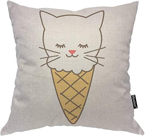 Fodera per cuscino da tiro gatto Simpatico gattino cartone animato in gelato Fodera per cuscino da dessert Doodle Fodera per cuscino decorativo quadrato in cotone per poltrona giallo bianco