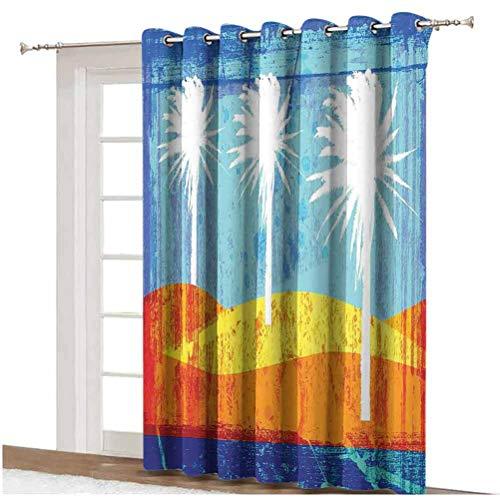 Cortina corredera de cristal envejecido con palmas y parte trasera térmica de cristal corredera, panel individual, 254 x 213 cm, para puerta corredera, color naranja y azul