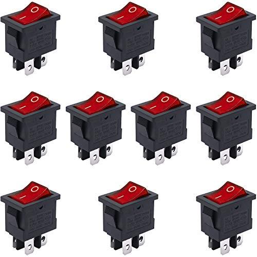 Taiss / 10 unidades CA 250 V/6 A, 125 V/10 A, luz roja iluminada ON/OFF DPST 4 pines 2 posiciones, mini botón, interruptor basculante, botón de pulsador KCD1-4-201N-R