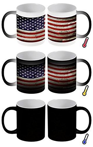Zaubertasse Farbwechseltasse Kaffeebecher Tasse Becher Latte Cappuccino Espresso Urlaub Reisebüro Flagge USA