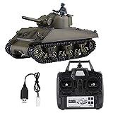 Dilwe 1/16 2,4 GHz Tank RC, Heng Long 3898-1 Sherman M4A3 Modèle de Tank RC avec télécommande
