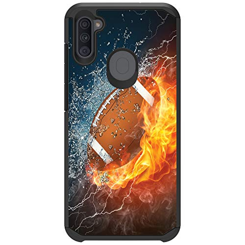 MINITURTLE Compatible with Samsung Galaxy A11 (2020) Bumper Dual Layer Hard Shell Protective Case Cover [Defender] - Water Fire Football