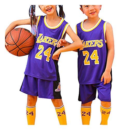 Boy Girl Basketball Trikot Bryant Lakers # 24 2-teiliges Top und Shorts Set, Unisex School Student Sportswear ist locker Kids Students Quick Dry Suit-Purple-XL