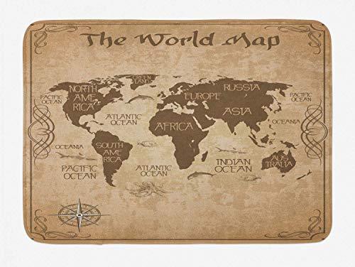Alfombra de baño con mapa del mundo, diseño topográfico de temática vintage, gráfico de arte grunge con rosa de los vientos, alfombra de felpa para decoración de baño con respaldo antideslizante, marr