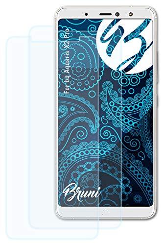 Bruni Schutzfolie kompatibel mit bq Aquaris X2 Pro Folie, glasklare Bildschirmschutzfolie (2X)