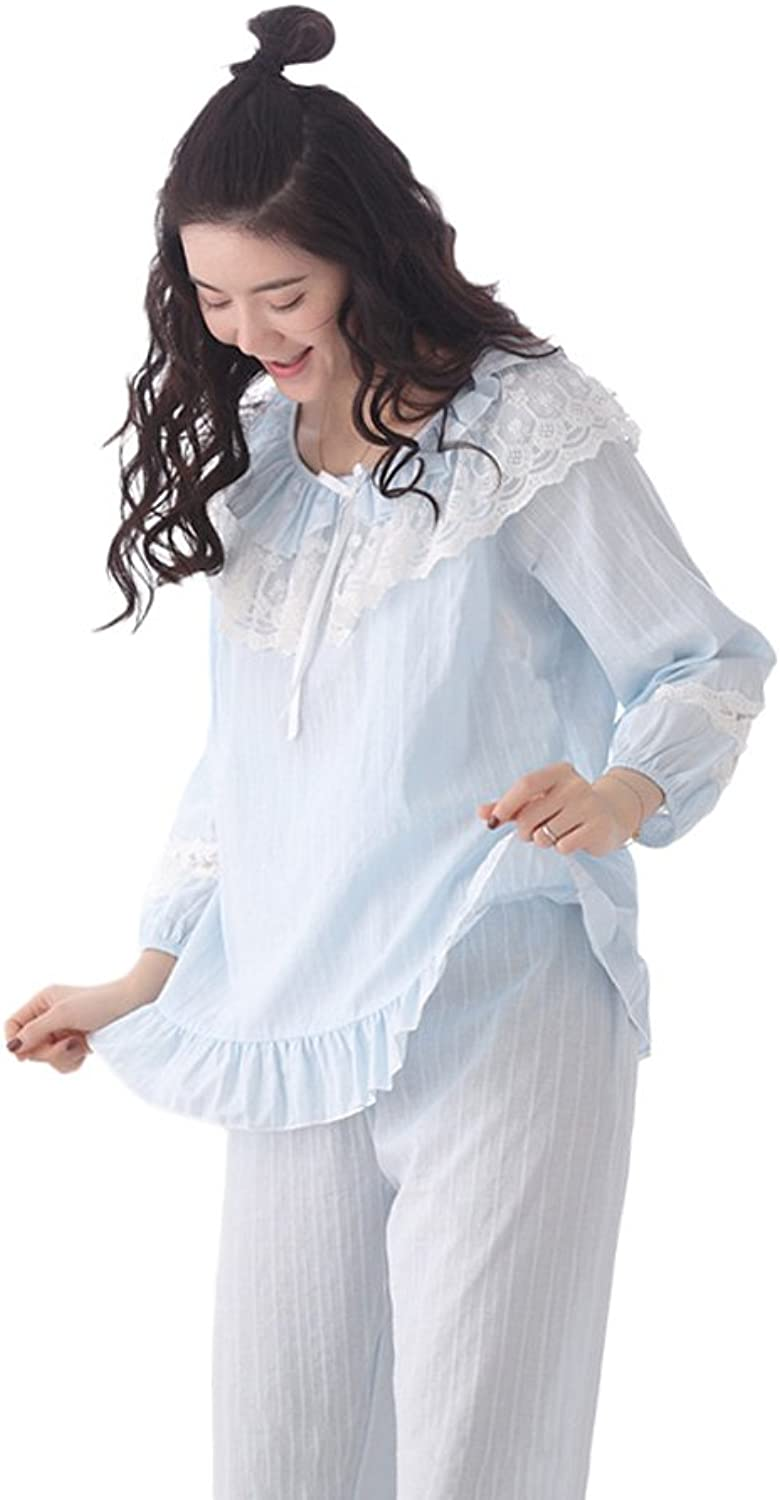 bluee Autumn and winter cotton long sleeves sweet loose ladies pajamas students home suits ( color   bluee , Size   L )