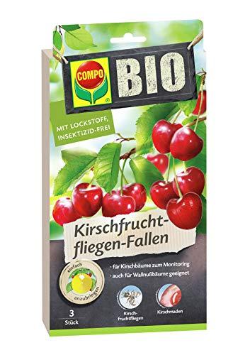 COMPO BIO Kirschfruchtfliegen-Fallen, Inkl. Köderplättchen, Bindedrähte und Clips, Mit Lockstoff, Insektizid-frei, Je 3 Stück