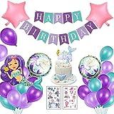 Sirena Decoración de Cumpleaños para Niña, Feliz Cumpleaños Pancartas Happy Birthday Morado Globo de Mermaid, Pequeña Fiesta de Cumpleaños Chica Novia Boda