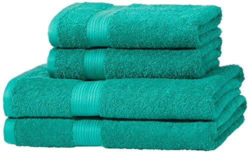 Amazon Basics AB Fade Resitant, 100% Algodón, Verde, 2 baño + 2 manos