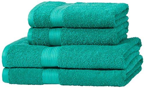 AmazonBasics Handtuch-Set, ausbleichsicher, 2 Badetücher und 2 Handtücher, Türkisgrün, 100% Baumwolle 500g/m²