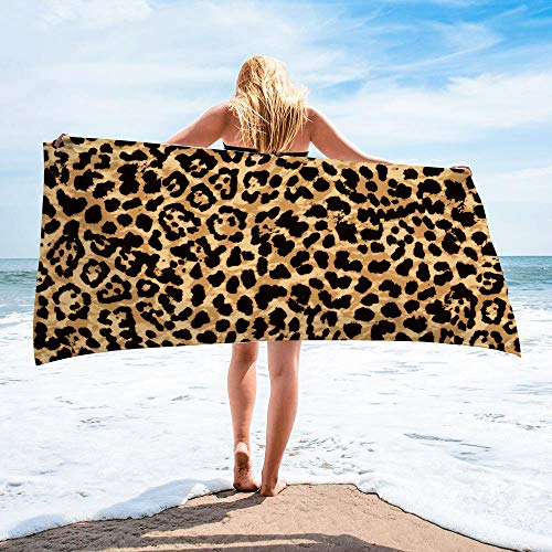 Surwin Toalla de Playa Grande, Microfibra Leopardo Impresión Secado Rápido Toalla de Piscina Toalla de Arena Antiadherente para Verano Playa, Yoga, Picnic, Hotel (Marrón,80x160cm)