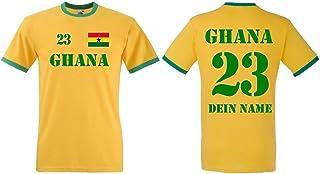 Fruit of the Loom Ghana Herren T-Shirt Retro Trikot mit Wunschname & Nummer