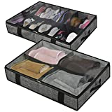 Onlyeasy Under Bed Shoe Storage Organizer for Closet - Set of 2, Fits 14+4 Pairs - Underbed Storage Solution Shoes Container Box with Clear Cover, Linen-like Black, MXAUBS14S4