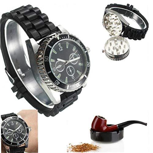 Negro Oculto Amoladora De La Hierba Del Reloj De Tabaco Y Especias Grinder Grinder De Metal Reloj De Cigarrillos De Hierbas Trituradora