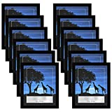 Americanflat Picture Frames in Black Wood with Polished Plexiglass - Horizontal and Vertical Formats for Wall and Tabletop - 8' x 10' - Pack of 12